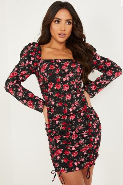 Black & Red Floral Ruched Dress